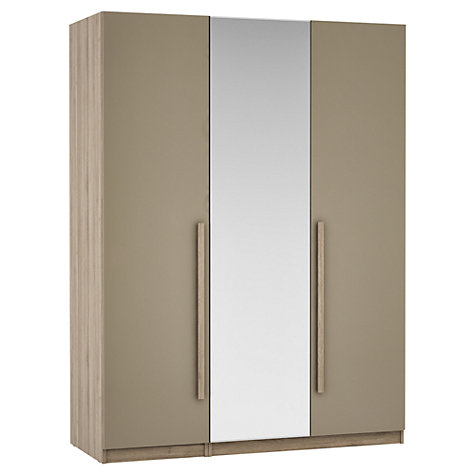 Buy House by John Lewis Mixit Block Handle Mirrored Triple Wardrobe, Matt Stone/Grey Ash Online at johnlewis.com
