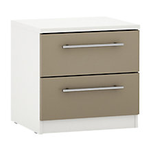 Buy House by John Lewis Mix it T-bar Handle 2 Drawer Bedside Chest, Matt Stone/White Online at johnlewis.com