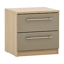 Buy House by John Lewis Mix it T-bar Handles 2 Drawer Bedside Chest, Matt Stone/Natural Oak Online at johnlewis.com