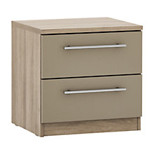 Buy House by John Lewis Mix it T-bar Handle 2 Drawer Bedside Chest, Matt Stone/Grey Ash Online at johnlewis.com