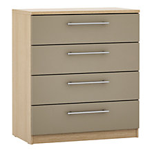 Buy John Lewis Mixit Matt T-bar Handles Wide 4 Drawer Chest, Stone/Natural Oak Online at johnlewis.com