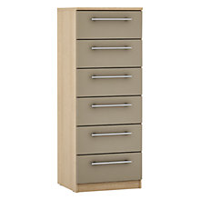 Buy John Lewis Mixit Matt T-bar Handles Narrow 6 Drawer Chest, Stone/Natural Oak Online at johnlewis.com
