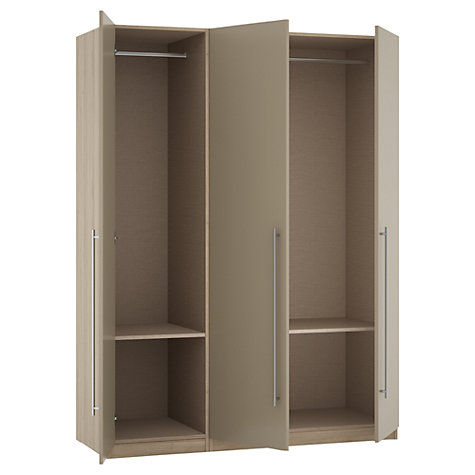 Buy House by John Lewis Mix it T-bar Handle Triple Wardrobe, Matt Stone/Grey Ash Online at johnlewis.com