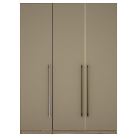 Buy House by John Lewis Mixit T-bar Handle Triple Wardrobe, Matt Stone/Grey Ash Online at johnlewis.com
