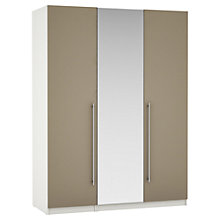 Buy House by John Lewis Mixit T-bar Handle Mirrored Triple Wardrobe, Matt Stone/White Online at johnlewis.com