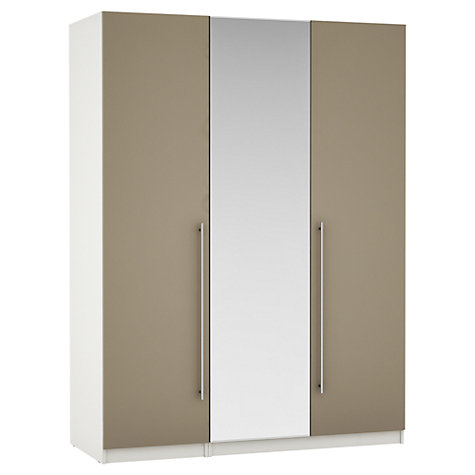 Buy John Lewis Mixit Matt T-bar Handles Mirrored Triple Wardrobe, Stone/White Online at johnlewis.com