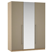 Buy John Lewis Mixit Matt T-bar Handles Mirrored Triple Wardrobe, Stone/Natural Oak Online at johnlewis.com