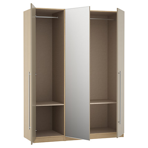 Buy House by John Lewis Mixit T-bar Handle Mirrored Triple Wardrobe, Matt Stone/Natural Oak Online at johnlewis.com