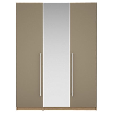 Buy House by John Lewis Mix it T-bar Handle Mirrored Triple Wardrobe, Matt Stone/Natural Oak Online at johnlewis.com