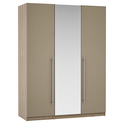 Buy House by John Lewis Mixit T-bar Handle Mirrored Triple Wardrobe, Matt Stone/Grey Ash Online at johnlewis.com