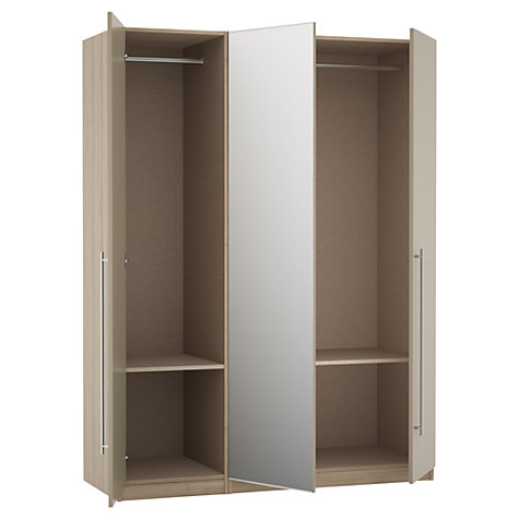 Buy House by John Lewis Mix it T-bar Handle Mirrored Triple Wardrobe, Matt Stone/Grey Ash Online at johnlewis.com