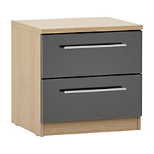 Buy House by John Lewis Mixit T-bar Handle 2 Drawer Bedside Chest, Gloss Grey/Natural Oak Online at johnlewis.com