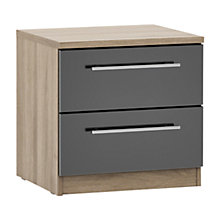 Buy House by John Lewis Mix it T-bar Handle 2 Drawer Bedside Chest, Gloss House Steel/Grey Ash Online at johnlewis.com