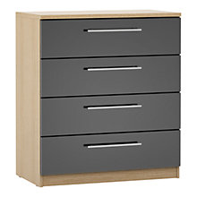 Buy House by John Lewis Mixit T-bar Handle Wide 4 Drawer Chest, Gloss Grey/Natural Oak Online at johnlewis.com