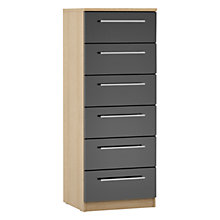 Buy House by John Lewis Mixit T-bar Handle Narrow 6 Drawer Chest, Gloss Grey/Natural Oak Online at johnlewis.com