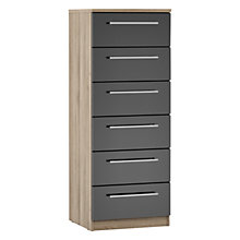 Buy House by John Lewis Mixit T-bar Handle Narrow 6 Drawer Chest, Gloss Grey/Grey Ash Online at johnlewis.com