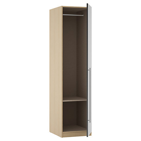 Buy House by John Lewis Mix it T-bar Handle Single Wardrobe, Gloss House Steel/Natural Oak Online at johnlewis.com