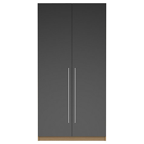 Buy House by John Lewis Mix it T-bar Handle Double Wardrobe, Gloss Grey/Natural Oak Online at johnlewis.com