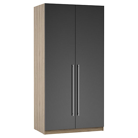 Buy House by John Lewis Mixit T-bar Handle Double Wardrobe, Gloss Grey/Grey Ash Online at johnlewis.com