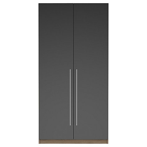 Buy House by John Lewis Mix it T-bar Handle Double Wardrobe, Gloss House Steel/Grey Ash Online at johnlewis.com