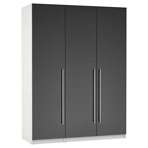 Buy House by John Lewis Mixit T-bar Handle Triple Wardrobe, Gloss Grey/White Online at johnlewis.com