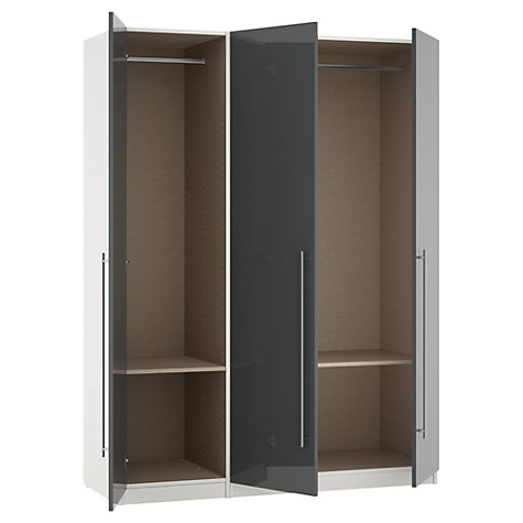 Buy House by John Lewis Mix it T-bar Handle Triple Wardrobe, Gloss Grey/White Online at johnlewis.com