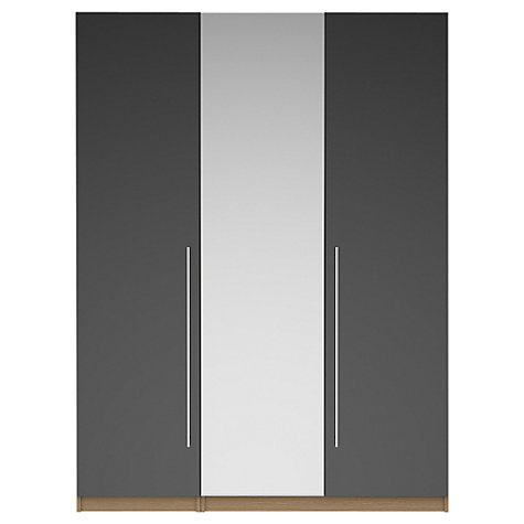 Buy House by John Lewis Mix it T-bar Handle Mirrored Triple Wardrobe, Gloss House Steel/Natural Oak Online at johnlewis.com
