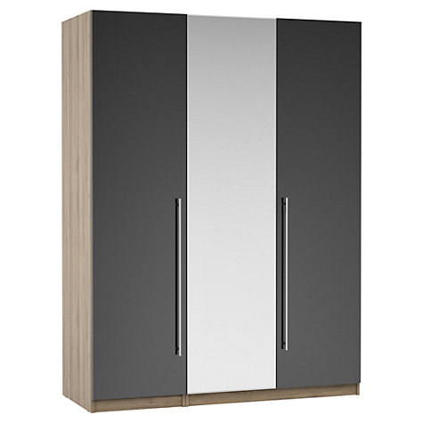 Buy House by John Lewis Mix it T-bar Handle Mirrored Triple Wardrobe, Gloss Grey/Grey Ash Online at johnlewis.com