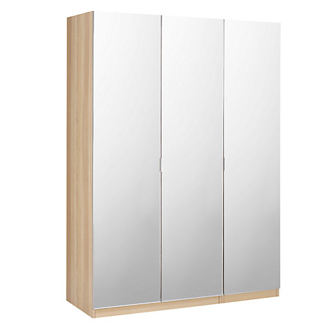 Buy House by John Lewis Mix it Mirrored Triple Wardrobe, Natural Oak Online at johnlewis.com
