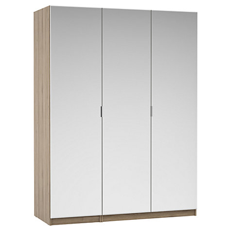Buy House by John Lewis Mixit Mirrored Triple Wardrobe, Grey Ash Online at johnlewis.com