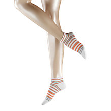 Buy Falke Cotton Mix Stripe Trainer Socks, White/Orange Online at johnlewis.com