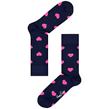 Buy Happy Socks Heart Ankle Socks, Navy/Pink Online at johnlewis.com