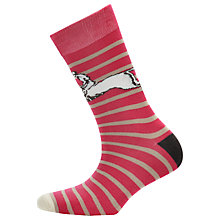 Buy Joules Brilliant Bamboo Striped Horse Print Socks, Red Online at johnlewis.com