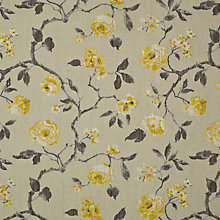 Buy John Lewis Linen Rose Fabric, Yellow Online at johnlewis.com