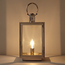 Buy John Lewis Croft Collection Whitby Box Lantern Table Lamp, Nickel Online at johnlewis.com