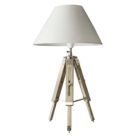 Buy John Lewis Bembridge Tripod Table Lamp, Sand/ Nickel Online at johnlewis.com