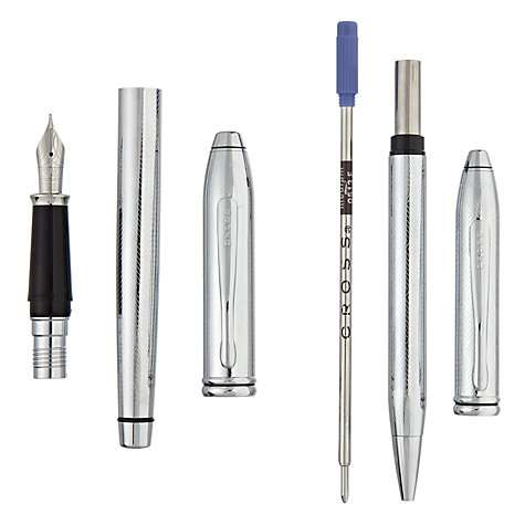 Buy Cross Townsend Herringbone Fountain and Ballpoint Pen Set, Chrome Online at johnlewis.com