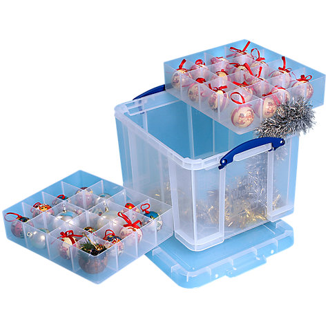 Buy John Lewis Storage Box With 3 Trays 35 Litres Clear