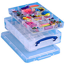 Buy Really Useful Products Storage Box with 2 Trays, 4 Litres, Clear Online at johnlewis.com