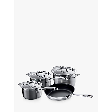 buy le creuset 3 ply stainless steel pan set 4 pieces john lewis. Black Bedroom Furniture Sets. Home Design Ideas