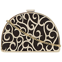 Buy Dune Engaged Suede Metal Pattern Clutch Bag, Black Online at johnlewis.com
