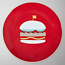 Buy John Lewis Diner Burger Side Plate, Red Online at johnlewis.com