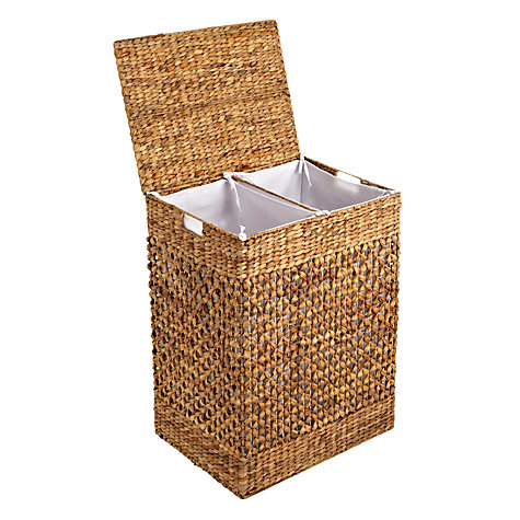 Buy John Lewis Water Hyacinth Double Laundry Hamper Online at johnlewis.com