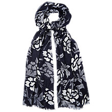 Buy Phase Eight Mono Flower Scarf, Navy/Grey Online at johnlewis.com
