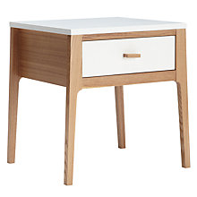 Buy House by John Lewis Maine 1-drawer Bedside Table, White/Ash Online at johnlewis.com