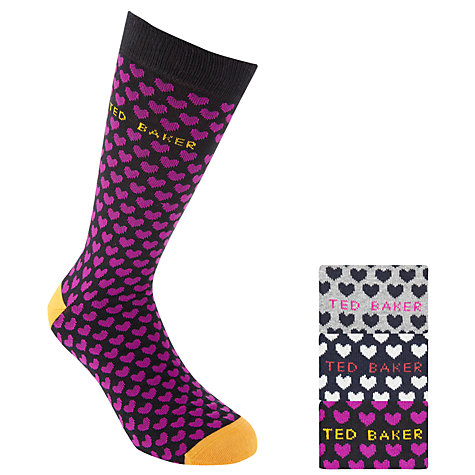 Buy Ted Baker Heart Sock Gift Set, 3 Pack, One Size Online at johnlewis.com