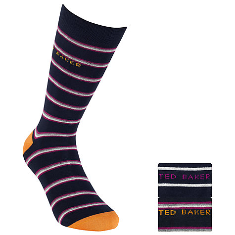 Buy Ted Baker Stripe Socks, Pack of 2, One Size, Plum Online at johnlewis.com