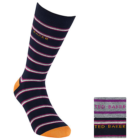 Buy Ted Baker Striped Pull On Socks, One Size, Navy Online at johnlewis.com