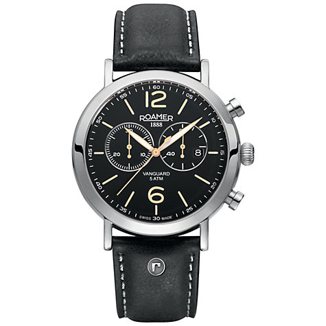 Buy Roamer Ronda 5021 D Men's Chronograph Leather Strap Watch, Black Online at johnlewis.com