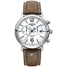 Buy Roamer Ronda 5021 D Men's Chronograph Leather Strap Watch, Tan Online at johnlewis.com